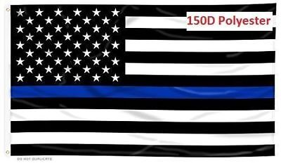 Thin Blue Line Police Law Enforcement Support USA Flag 3'X5' 150D
