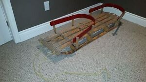 Unique Dual Seat Wooden Child's Sleigh Sled