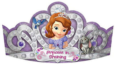 PRINCESS SOFIA THE FIRST birthday party PAPER TIARAS with glitter 8 favor -