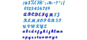 7mm script font for machine embroidery