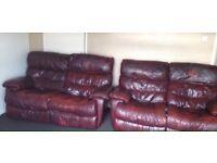 FREE 2x 2 Seater Burgundy Leather Sofa's