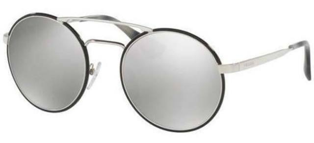 10 Prada SPR 51S 1AB-2B0 Silver Black Gray Round Gradient Sunglasses 54*22*135