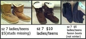 3 pr ladies/teens boots to choose from, sz 7