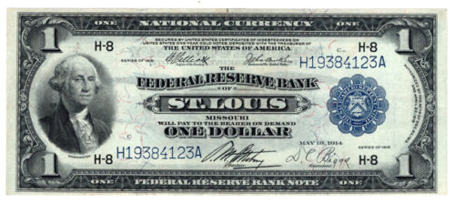 1918 $1 Federal Reserve Bank Note St. Louis, Missouri.  VF.  Y00006767