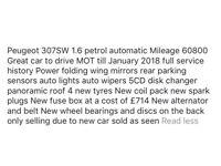 Peugeot 307 sw automatic estate