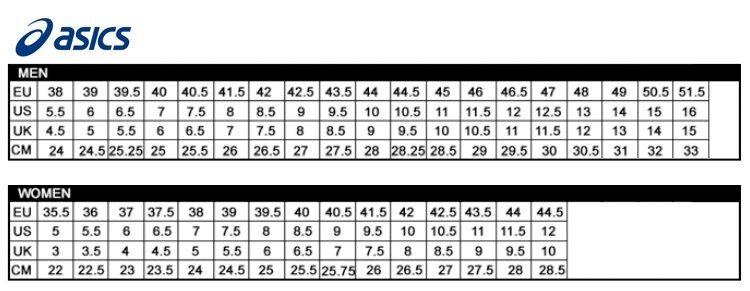 Asics Kids Shoe Size Chart