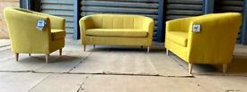 Habitat Ayres 2 X 2 Seater Fabric Tub Sofa And Chair- Yellow