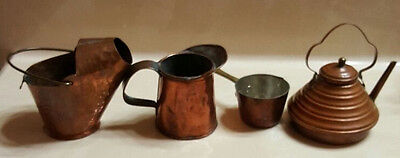 Miniature Copper Kettle Teapot Pan Pitcher Watering Can Vintage Set of 5