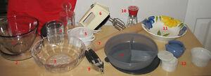 Kitchen items: electric beater, garlic press, glass bowls, etc.
