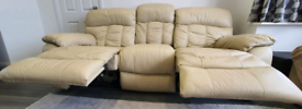 3 Seater Cream Leather Reclining Sofa