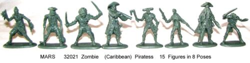 Mars 32021 Zombie (Caribbean) Pirates plastic toy soldiers 15 in 8 poses