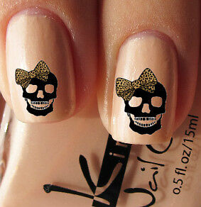 Nail-Wrap-Art-DECAL-for-Natural-or-False-Nails-Water-TRANSFER-Leopard-Bow-Skull