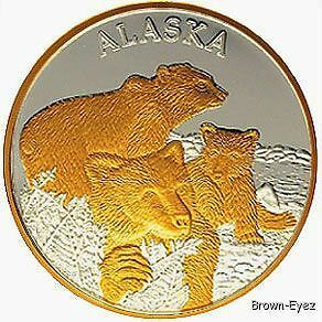 Alaska Mint Bear Cubs Silver Medallion Proof 1oz