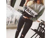 Grey, White & Black ADIDAS Jumpern Sweatern (small, size 8-10)