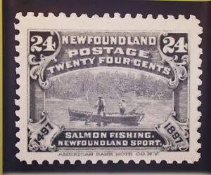 Salmon Fishing Newfoundland Stamp Poster, Signed and Numbered