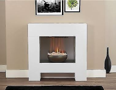 Freestanding Modern White Fireplace Electric