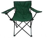 Folding green camping chairs x 2