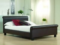 Genuine leather sleigh bed frame double size