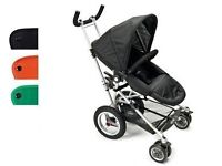 micralite toro buggy pushchair stroller silver frame, black seat unit and hood, good cond, clean