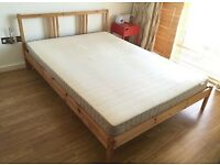IKEA wooden double bed frame with mattress DELIVERED