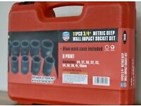 11 Piece Three Quarter Inch Wall Impact Socket Set