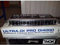 """ULTRA DI4000 Professional 4 Channel Active DI Rack Box 19"""""""
