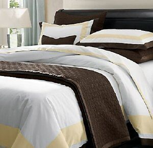Restoration Hardware Italian Chocolate Edge Sateen Queen Bedding