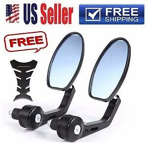 """7/8"""" Side Oval Mirrors Handle Bar End For Honda Harley Bobber Clubman Cafes"""