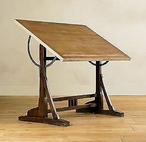 ANTIQUE CAST IRON and WOOD DRAFTING TABLE, VINTAGE INDUSTRIAL