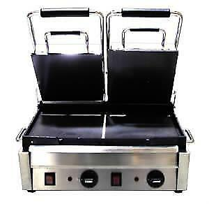 PANINI GRILL NEW DOUBLE FLAT .*RESTAURANT EQUIPMENT PARTS SMALLWARES HOODS AND MORE*