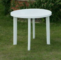 39 Inch Round White Patio Table
