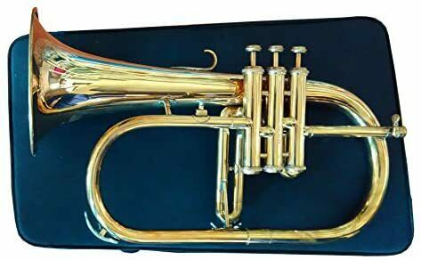 Natural Brass Flugel Horn Flugelhorn with Designer Hardcase