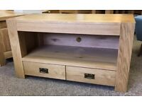 STURDY OAK TV CABINET WITH 2 DRAWERS