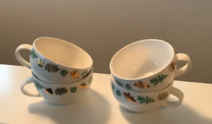 Davids Tea - 4 Porcelain Tea Cups, green and gold leaf pattern