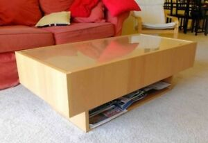 Coffee Table - Glass Top - Storage Drawers (For Charity)