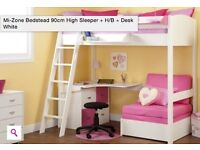 high sleeper bed with futon and desk