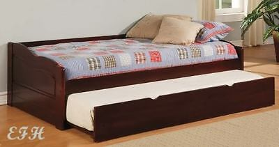 (NEW LOW PROFILE SUNSET DARK CHERRY FINISH WOOD TWIN DAY BED w/ UNDER BED TRUNDLE)