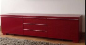 Red Gloss Tv Unit &Red and Black glass side Tables