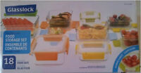 Glasslock 18 Pcs Oven Safe Glass Food Storage set BRAND NEW
