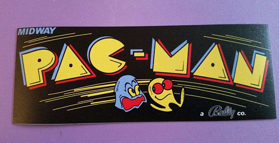 Pac Man Black marquee sticker 3 x 8. Buy any 3 of my stickers, GET ONE FREE!