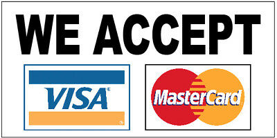 We Accept 2 Credit Cards Visa Mastercard Vinyl Banner Sign 2x4 Ft Wb