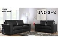 BRAND NEW 3+2 LEATHER SOFA BLACK OR BROWN + DELIVERY