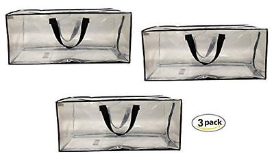 Earthwise Clear Storage Bags XL Heavy Duty Transparent Totes w/ Zipper (3 pack) (Clear Storage Bags)