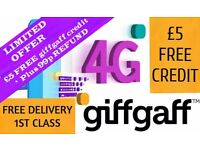 Giffgaff 3 In 1 Sim Card With £5 Free Credit + 3G&4G Connection (Free Sim Card For Limited Time!!)