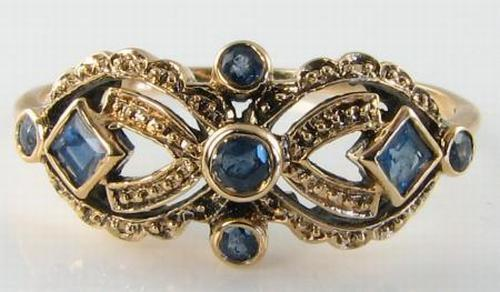 DAINTY 9K 9CT GOLD BLUE SAPPHIRE ART DECO INS RING