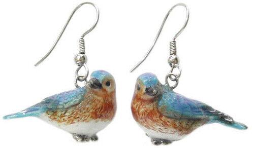 New NORTHERN ROSE Porcelain Earrings BLUEBIRD Figurine Figure Jewelry Wire