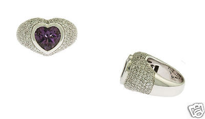 18K WG Ladies Pave Diamond Amethyst Heart Ring