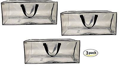 Clear Storage Bags Heavy Duty Extra Large Transparent Moving Totes (Set of 3) (Clear Storage Bags)