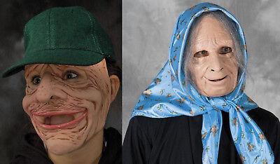2 Alt Man & Woman Maske Nana Packsack Erwachsene Halloween Lustig Paare Kostüm