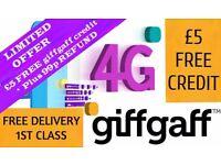 Free giffgaff sim ccard with £5 free credit
